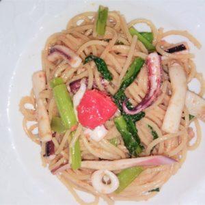イカとタラコのスパゲッティ味付けにでワタを使います