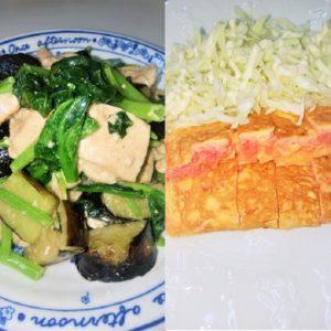酒のつまみに作った鶏むね肉と茄子の炒め物とタラコオムレツ