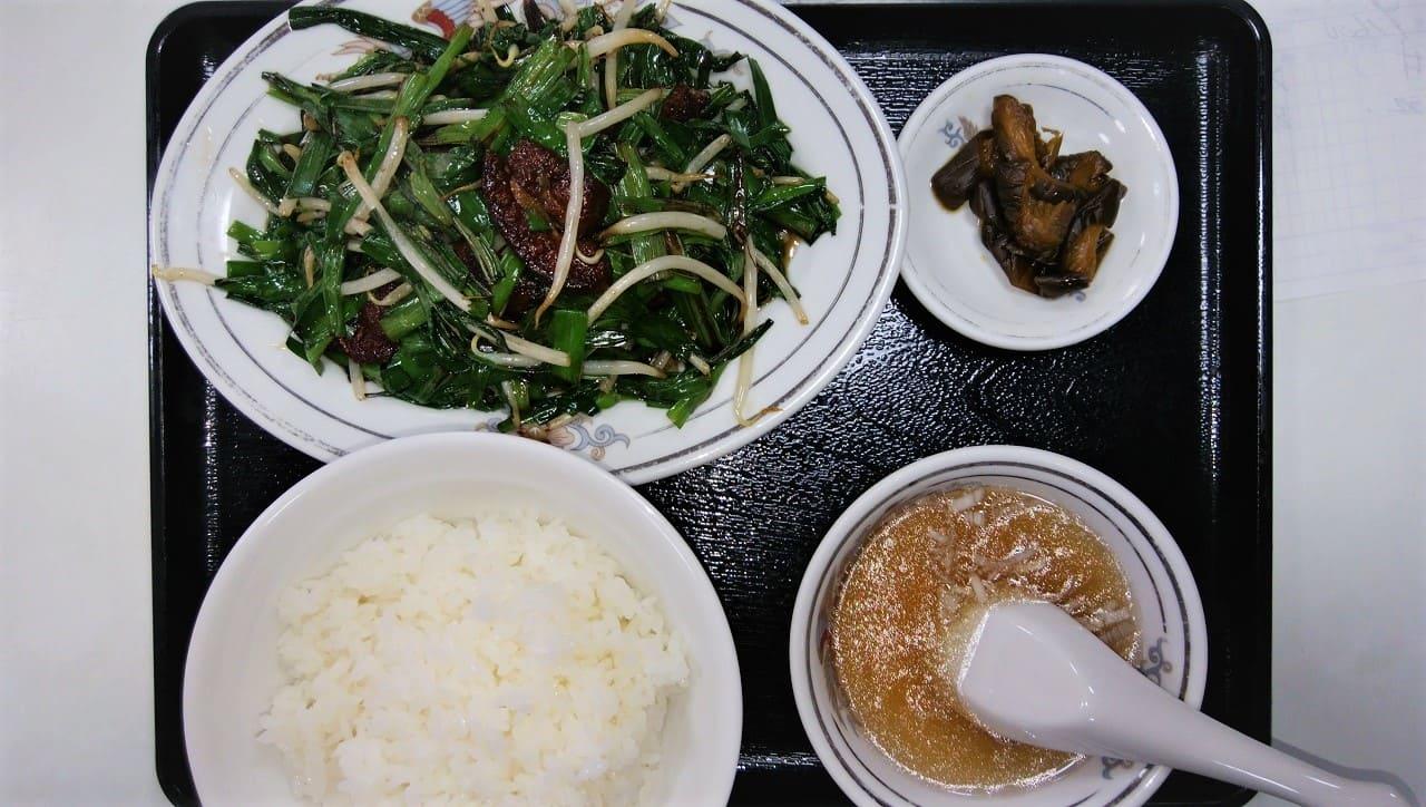 広東亭のレバにら炒め定食