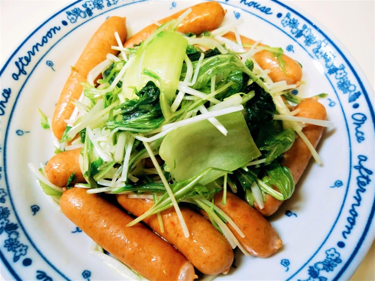 チンゲン菜とウインナー