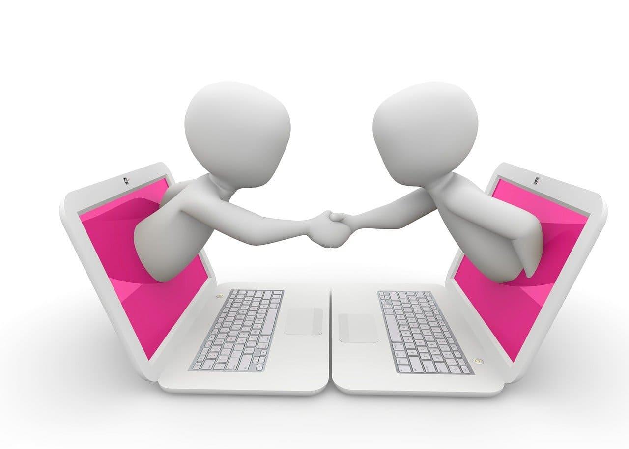 オンラインで握手