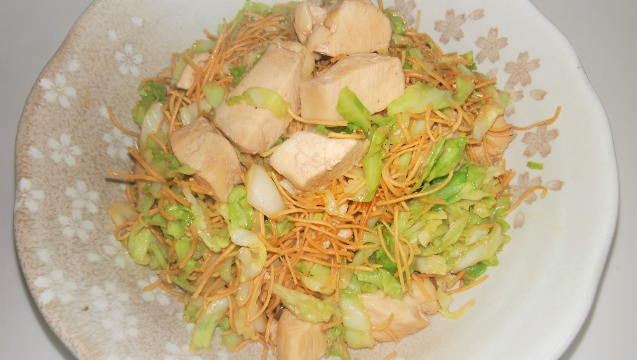 鶏胸肉の皿うどん